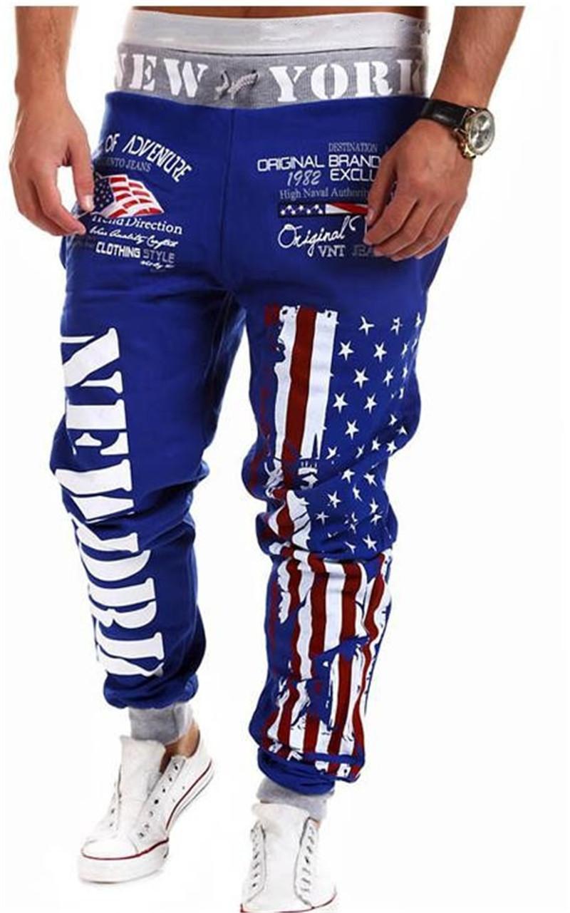 Compre Pantalones De Chándal Outwear Para Hombre Pantalones Con Estampado  De Estrellas De La Bandera Estadounidense De Nueva York Fashiom Bandera  Nacional ... 6a83a3ce81f