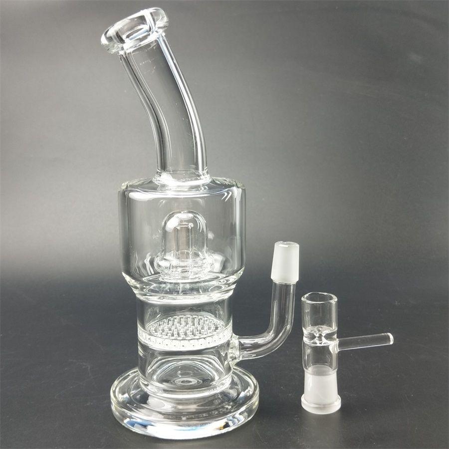 Tornado glass water pipe 1 beaker sound turbine cyclone filter female joint dab oil drilling platform 18.8 mm hookah glass bong