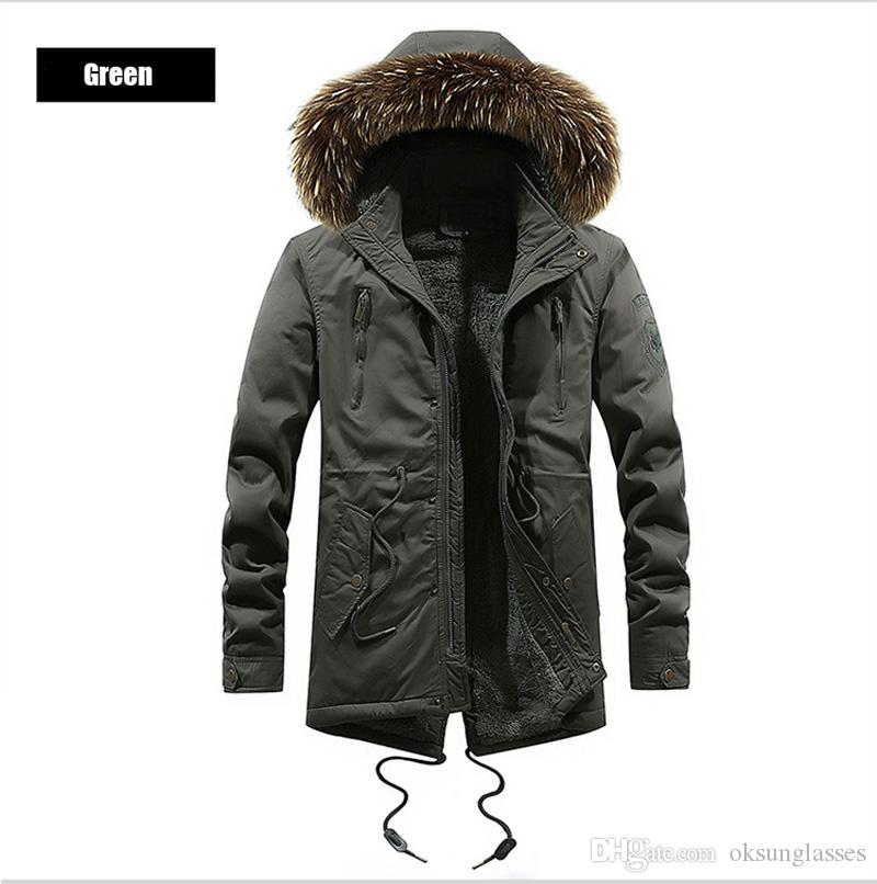 4806a7f9302b 2019 2018 Men Parka Coats Jacket Winter Men Slim Fit Thicken Fur Hooded  Outwear Warm Coat Top Clothing Coat Homme Tops From Oksunglasses