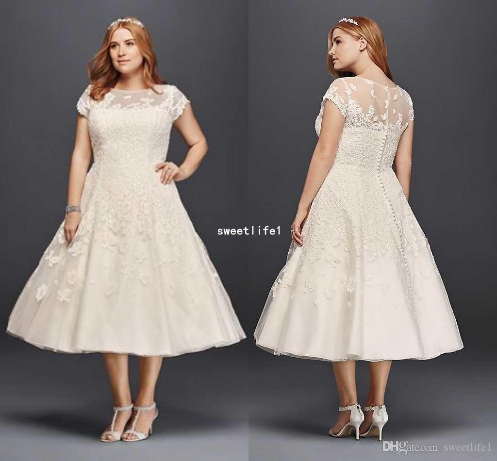 9989aa6b915 Plus Size Wedding Dresses Tea Length With Sleeves