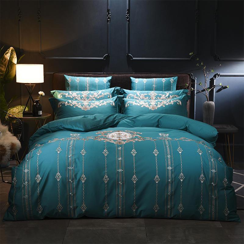 Großhandel Moderne Luxus ägyptische Baumwolle Bettwäsche Set Grün