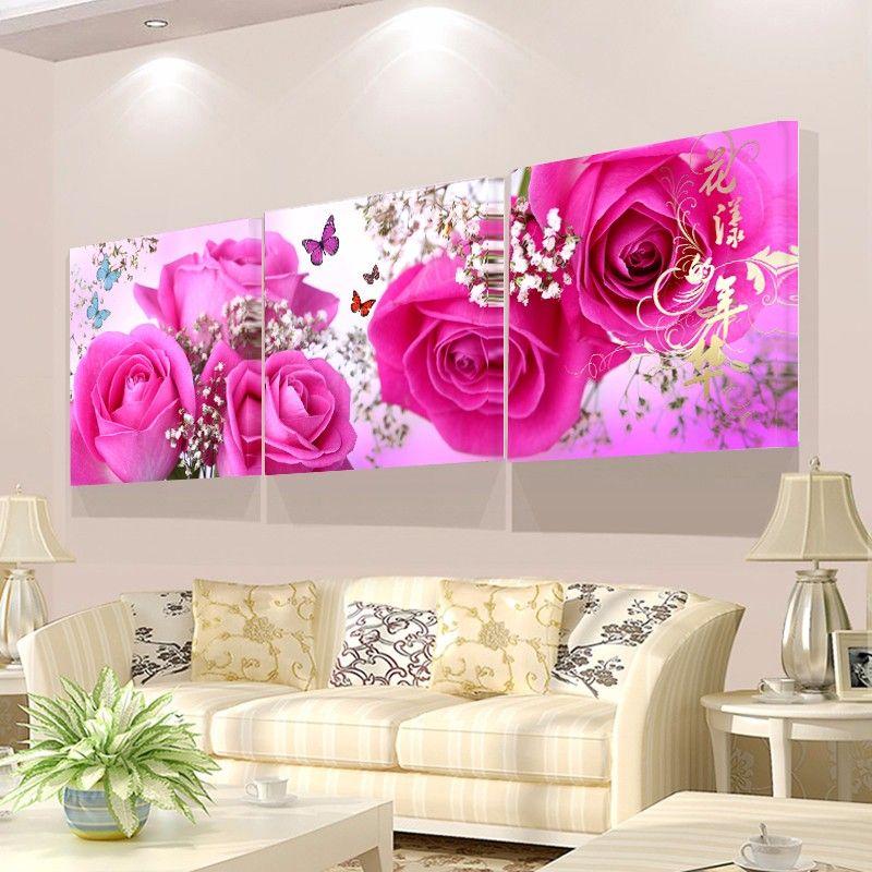 Décoration de la maison salon image murale peinture sur toile impression  fleurs tulipe rose prune