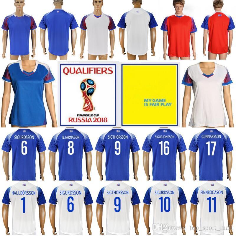 Man Woman 2018 Iceland World Cup Jersey 10 SIGURDSSON FINNBOGASON  KRISTINSSON GUDJOHNSEN Football Custom Name Blue Red White Soccer Shirt UK  2019 From ... b4da31e64