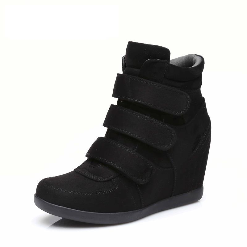 Spring Women Boots suede Leather Wedges Platform Boots Hidden Heel Shoes High Top Sneaker Casual Shoes For Woman