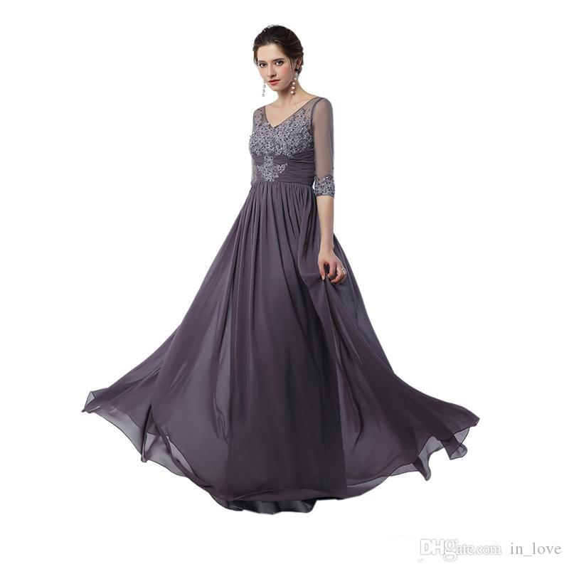 Half Sleeve Grey Mother of the Bride Dress Beaded Appliques Lace Chiffon Floor Length Evening Dress Wedding Guest Gown