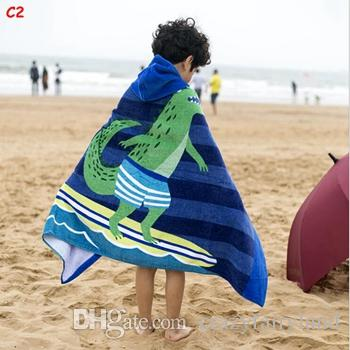 Large Size Mermaid Shark Printed Cotton Beach Towel 2018 Baby Children Hooded Bath Towel Baby Boys Girls Cartoon Bath Soft Towel for Baby