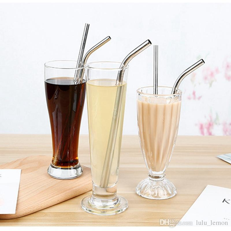 8 9 10 Inch Straight And Bent Stainless Steel Straw Reusable Drinking Straws Eco Friendly Drinking Tool For Bar Party