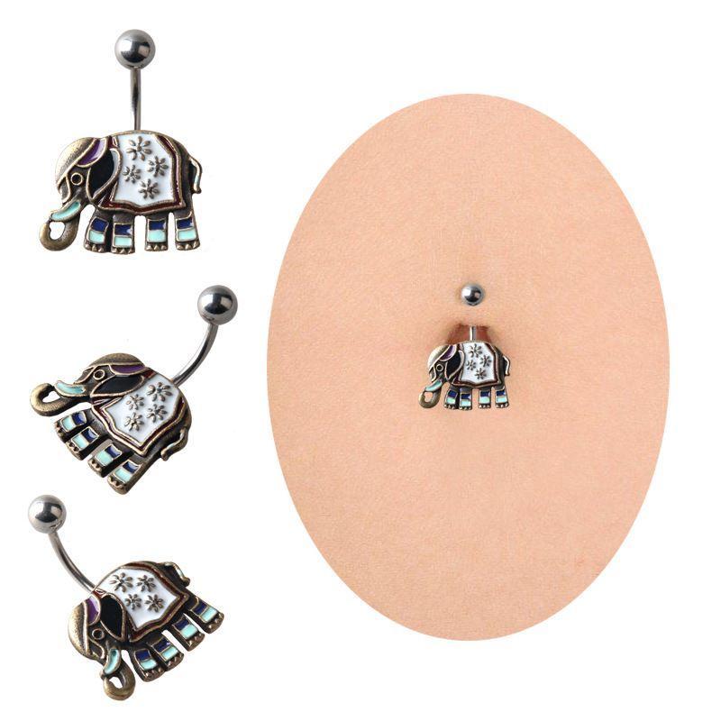 Bar Belly Ring Black Crystal Elephant Body Piercing Button Navel Two Heart Body Pierce Jewelry