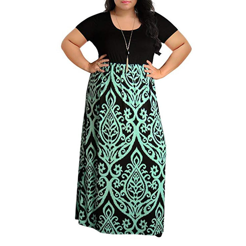 Bohemian style Women\'s dress Fashion elegant Lady Chevron Print Summer  Short Sleeve Plus Size Casual Long Maxi Dresses vestidos