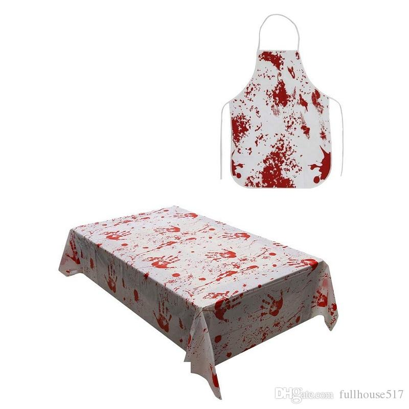 Halloween Bloody Tablecloth Scary Bloodstain Blood Drip Horror Handprint  Table Cover Halloween apron bloody Party Supplies Decoration 2Pcs