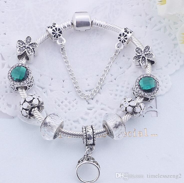 mulheres elegantes ametista pulseira brilhante liga pingente de pulseiras para o presente mãe agradável Dia das Mães navio livre 8 estilo