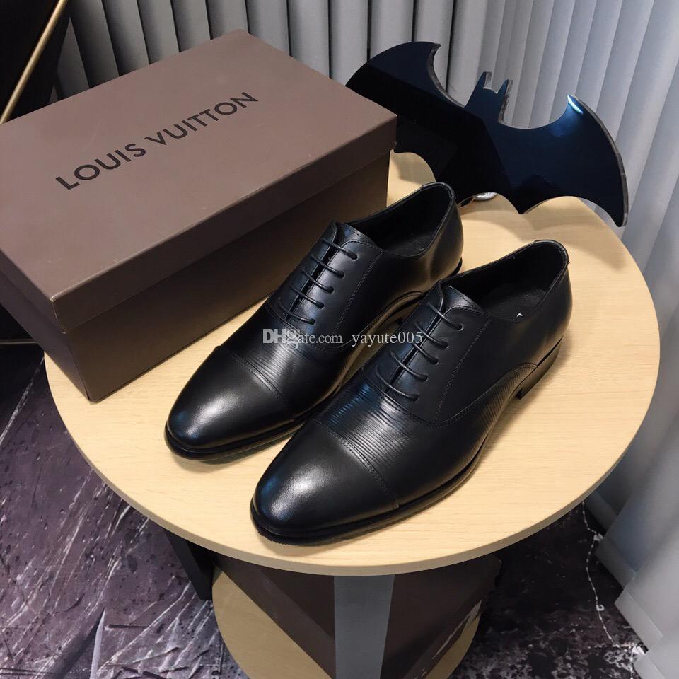 2d35e91e2f6d6a Mens Casual Shoes Wingtip Black Leather Formal Wedding Dress Derby ...