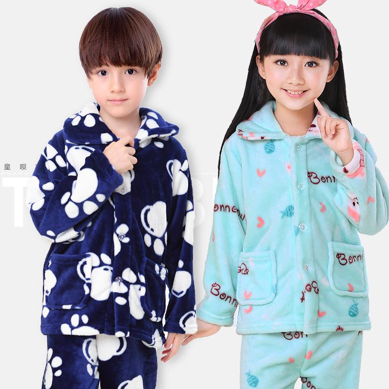 6c6cf13140 Winter Kids Pijamas Flannel Sleepwear Girls Boys Pyjamas Coral ...