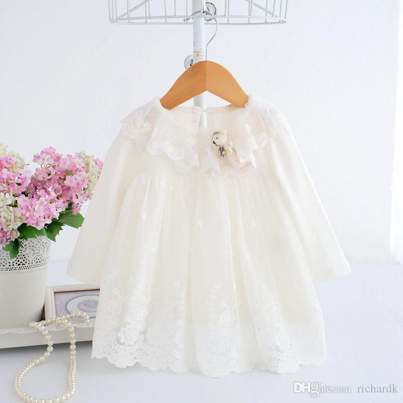 Newborn Cute Baby Embroidery Cotton Dress Infant Baby Birthday Dress Baby Clothes with Toy Bear