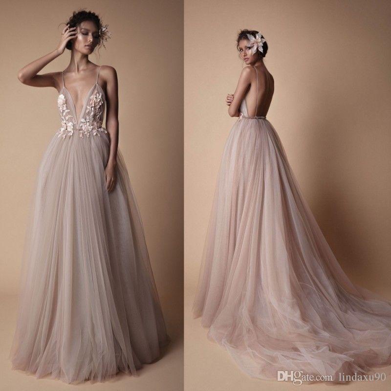 00c8681c5907 Discount 2019 Berta Beach Wedding Dresses Blush Bridal Gowns Sexy Backless  Spaghetti V Neck Lace Appliqued Wedding Dress Dress Wedding High Street  Wedding ...