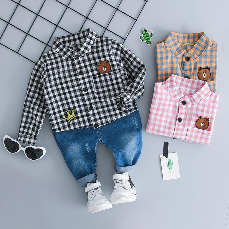 43bc0b65e5e2 2018 Autumn Baby Infant Clothing Sets Girl Boy Clothes Suits Grid ...