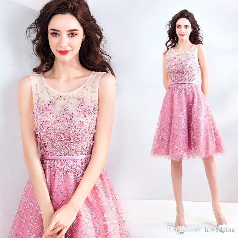 72f113641ca41 Blush 2018 Lace Evening Dresses Sheer Neck Beaded Knee Length Prom Dresses  Tulle Sexy Elegant Formal Party Gowns Petite Dresses Pink Dress From  Hiwedding, ...