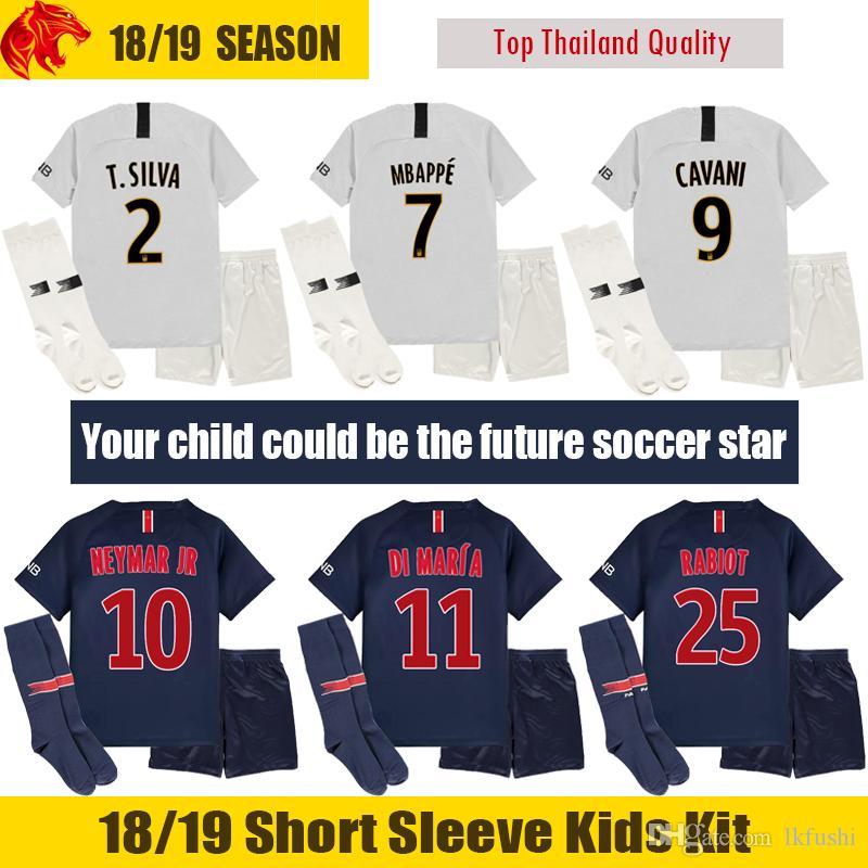 18 19 mbappe kids soccer jerseys 2018 2019 verratti cavani kids kit di maria children football unifo