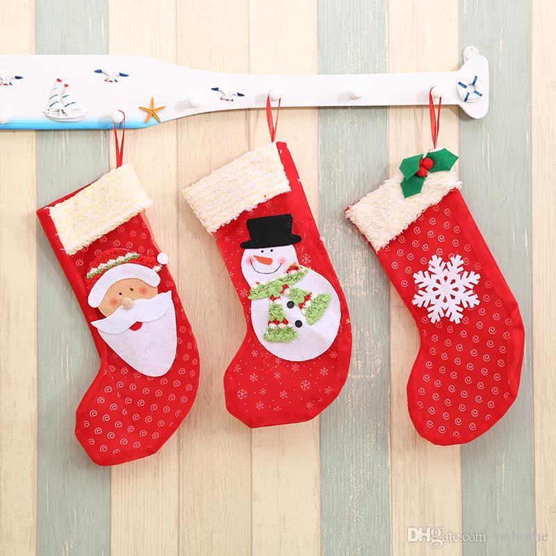 small size christmas gift socks snowflake socks creative candy christmas decoration supplies childrens gift bag factory supply personalized christmas - Candy Christmas Decorations