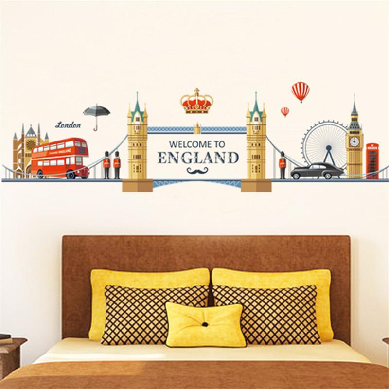 european england style city building big ben wall sticker i love