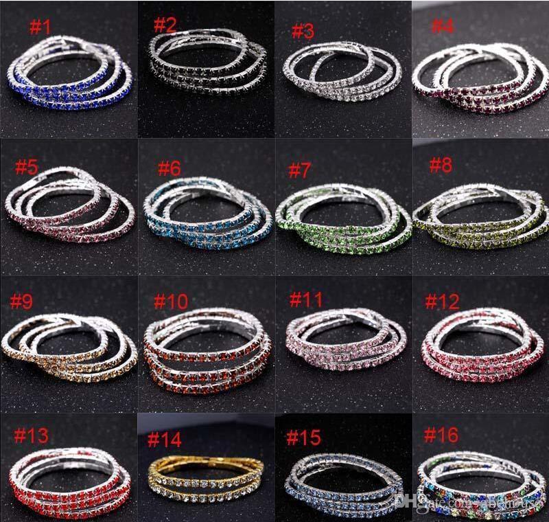3,5mm One Row Strass Stretch Armbänder 16 Farben Kristall Tennis Armreif Armband Für Frauenladungen Modeschmuck