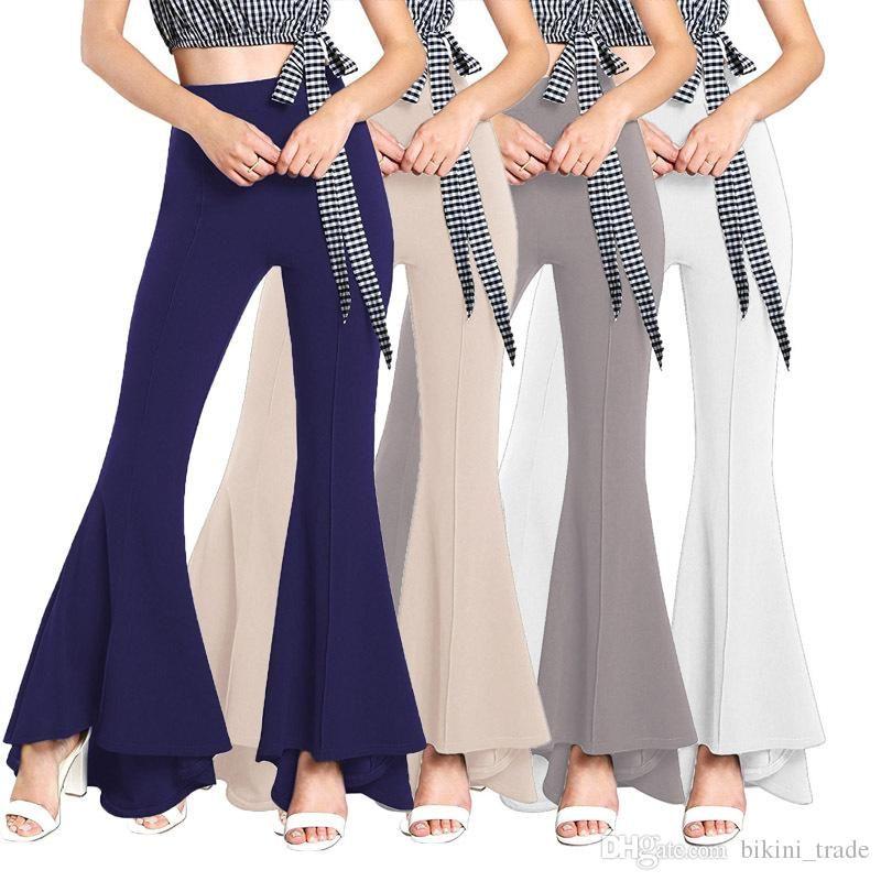 Sale Women Trousers Fashion Flare Pants Wide Leg Bell Bottoms 2019 ... 31d1d37eca74