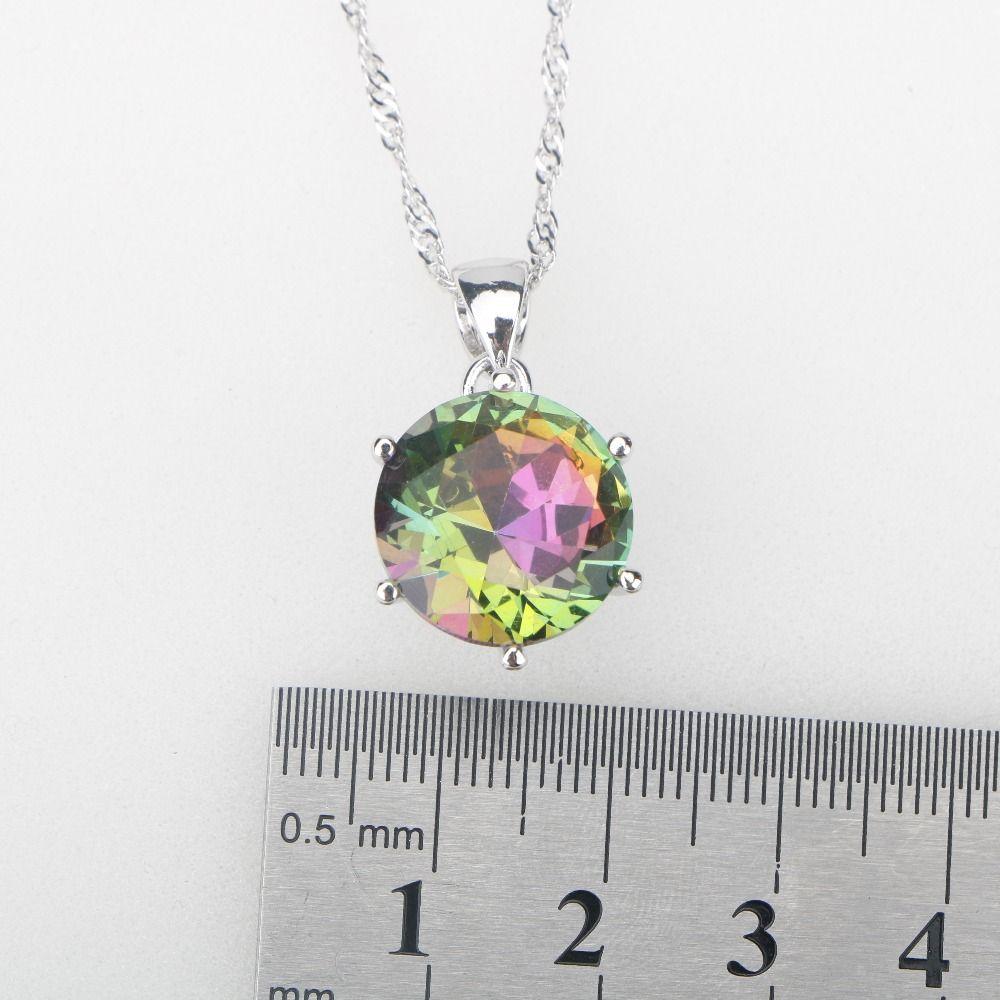 Arcobaleno CZ Stones Argento di gioielli da donna Collana con ciondolo Orecchini da donna Collana con ciondoli etiopi