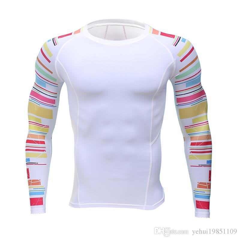 4d8f2f6de3e58 2018 Fitness T-shirt Men Compression shirts long sleeve Breathable shirts  Quick Dry Workout Clothes Men's Fashion T-Shirts MMA