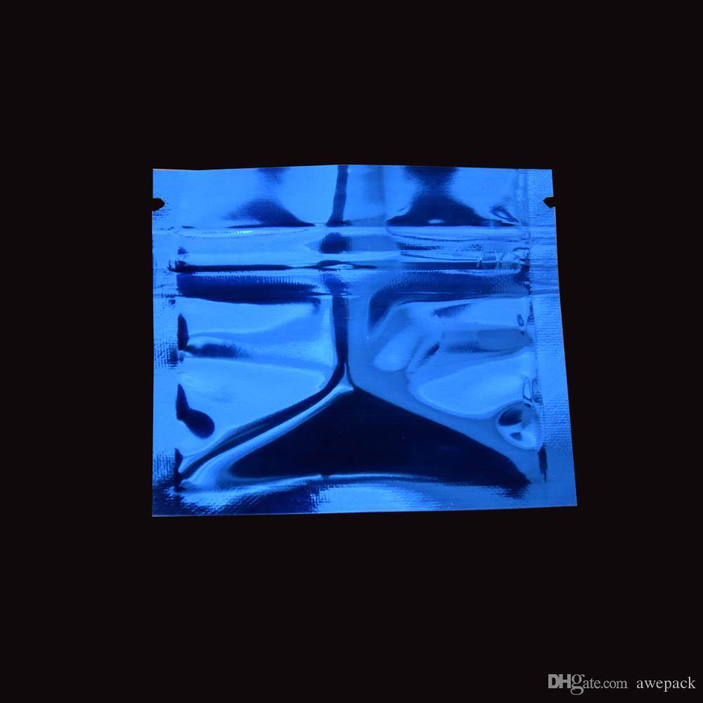 200 pçs / lote Pequeno Colorido Resealable Folha de Alumínio Brilhante Zip Bloqueio Saco de Embalagem de Café Em Pó de Embalagem de Doces Sacos de Zíper Mylar com Zíper Top