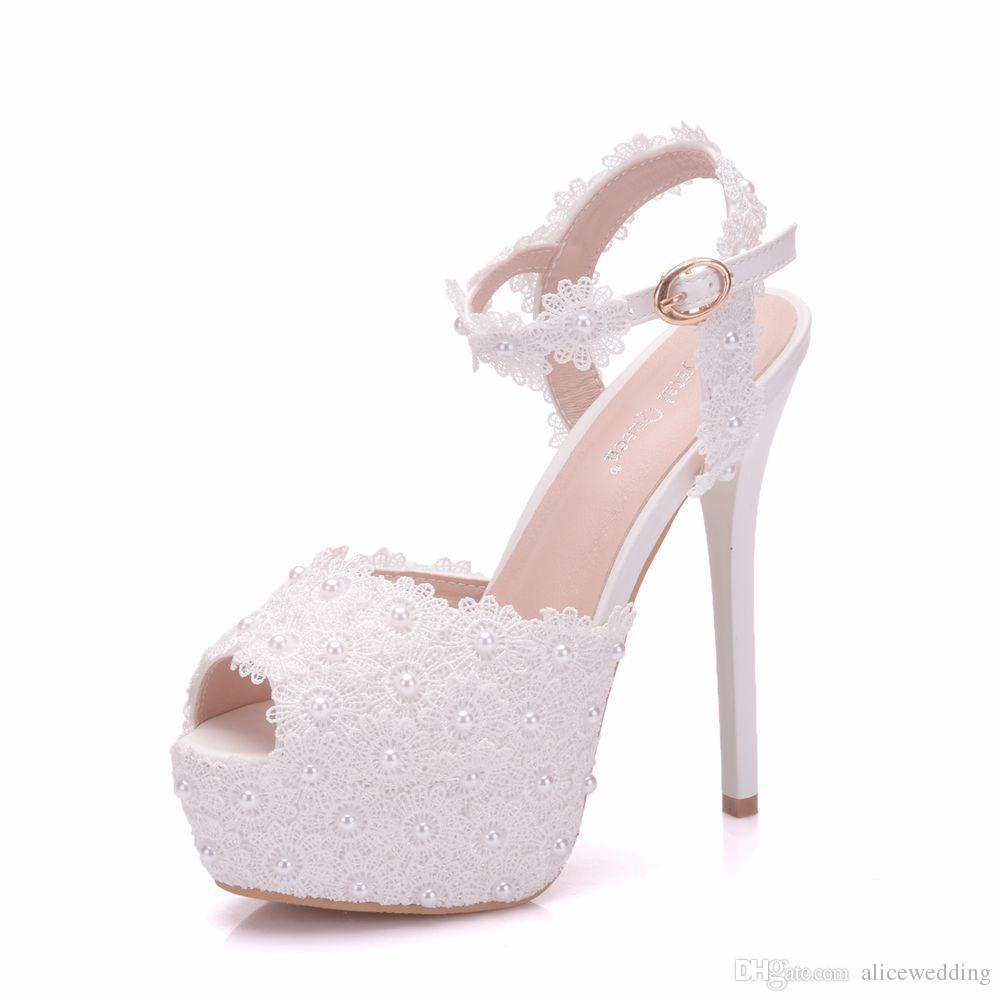 New White Lace Flowers Buckle Peep Toe Shoes for Women High Heels ... 4ad779d9fc54