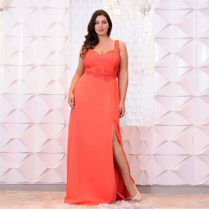Orange Lace Appliqued Plus Size Prom Dresses Sweetheart Neck Side
