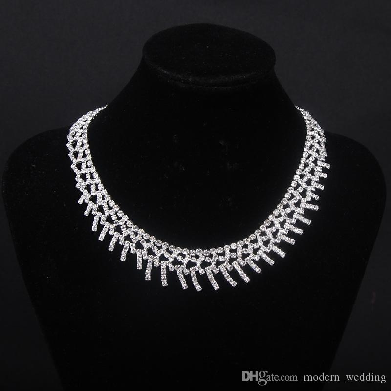 In stock Bridal Jewellery Sparkly Diamond Rhinestone Earrings Necklace Sets Cheap Wedding Jewelry Set For wedding Party