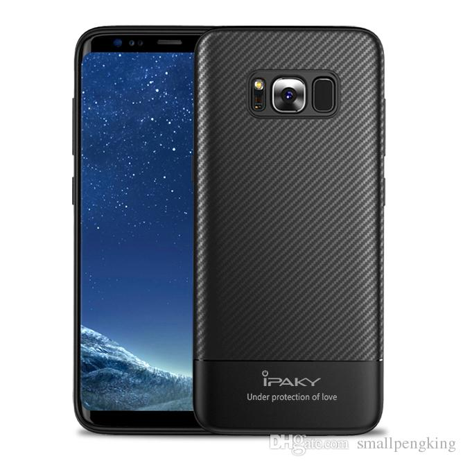 sale retailer ad347 cdeea iPaky Case For Samsung Galaxy S8 Plus Carbon Fiber SM S8+ TPU Back Cover  Drop-proof Shockproof Soft Protective Cases With Package In Stock