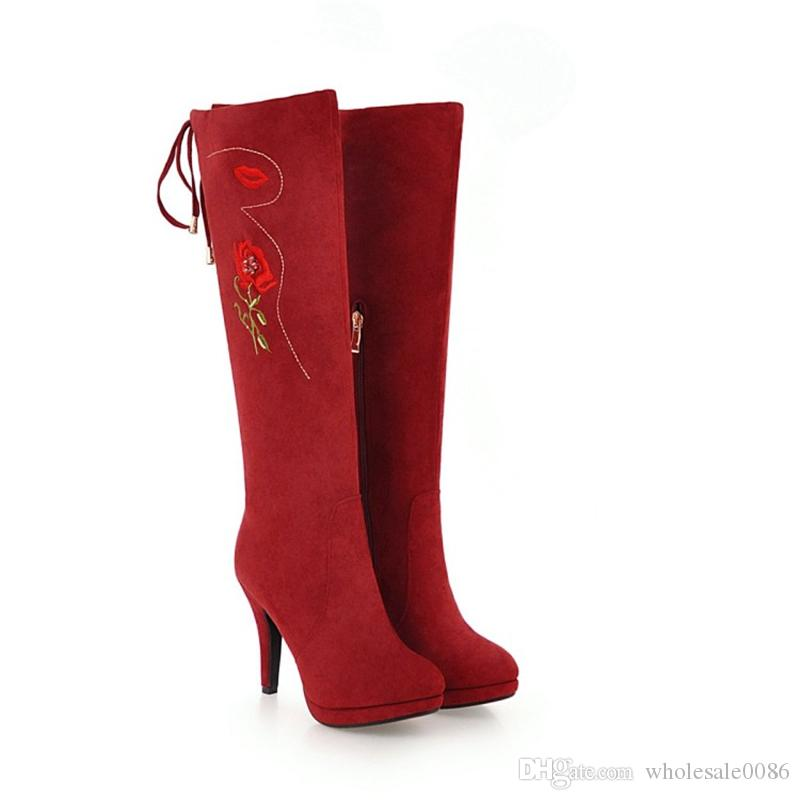 f094cd33991 Fashion Hot Sale Womens High Heel Lace Up Knee Boots Rose Flowers  Embroidery Warm Suede Shoes B968 Shoes Size US Size 4 10.5 Peep Toe Booties  Cat Boots From ...