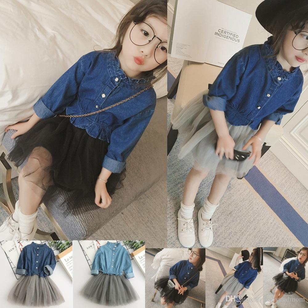 773eb4eee Niñas mangas largas Princesa falda para vestidos de niña bonita moda Denim  malla patchwork vestido 4 colores linda princesa falda