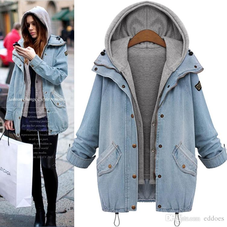 205ba02a4f31 Fashion Women Denim Jackets Winter Long Sleeve With Removable Hat Washed  Vintage Women Jean Coats Women S Outwears Plus Size M 4XL Fast Ship Ladies  Leather ...