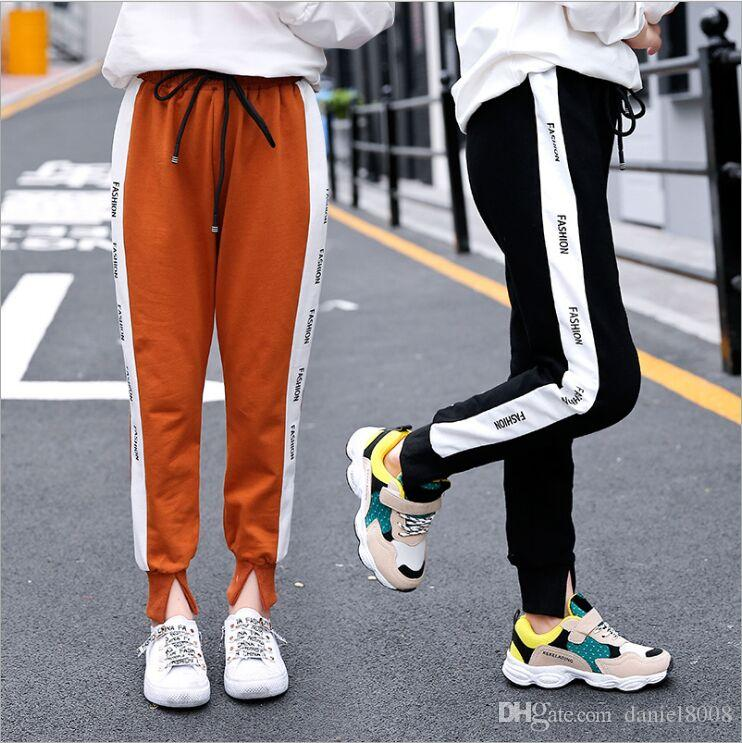 92b3e40affb05 Girls' sports pants Autumn pants 2018 new style casual haren loose girls  big children cotton pants