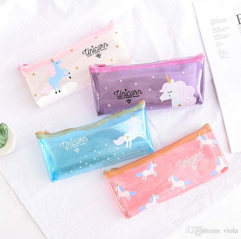4colors Unicorn cartoon Pen Bag transparent Pencil Holder Storage bag kids gift unicorn travel Cosmetic Makeup pouch