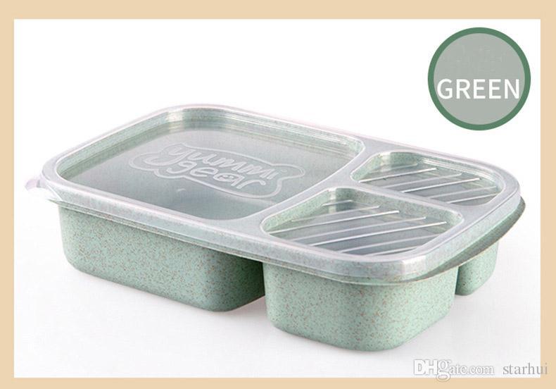 3 boîtes à lunch grillagées avec couvercle pour micro-ondes, boîte de rangement pour fruits, ensembles de vaisselle à emporter avec contenant ont en stock WX9-301