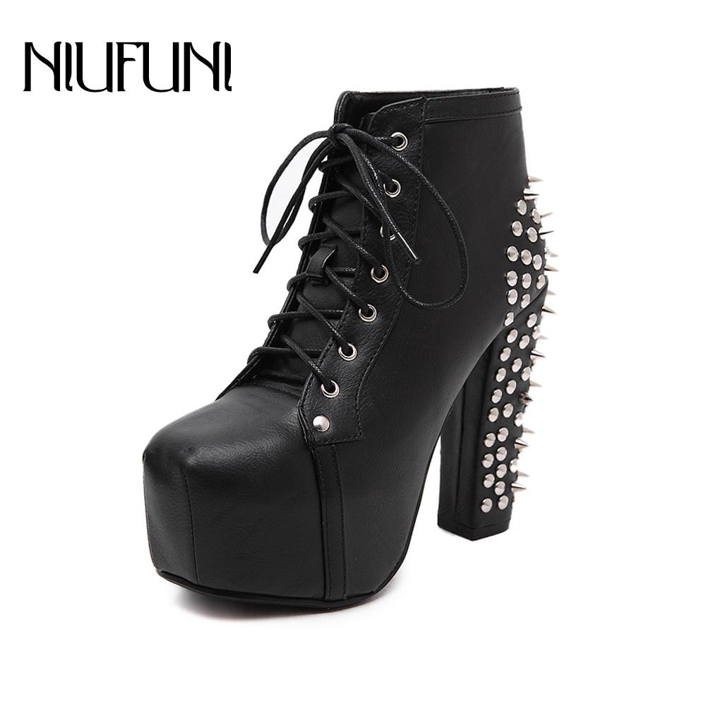 c0a60dc0d0d6 NIUFUNI Women S Boots High Heels Shoes With Waterproof Rock Roll 274 Rivets  Decorative Women Punk Boots Spikes Ankle Boot Socks Biker Boots From  Beasy111