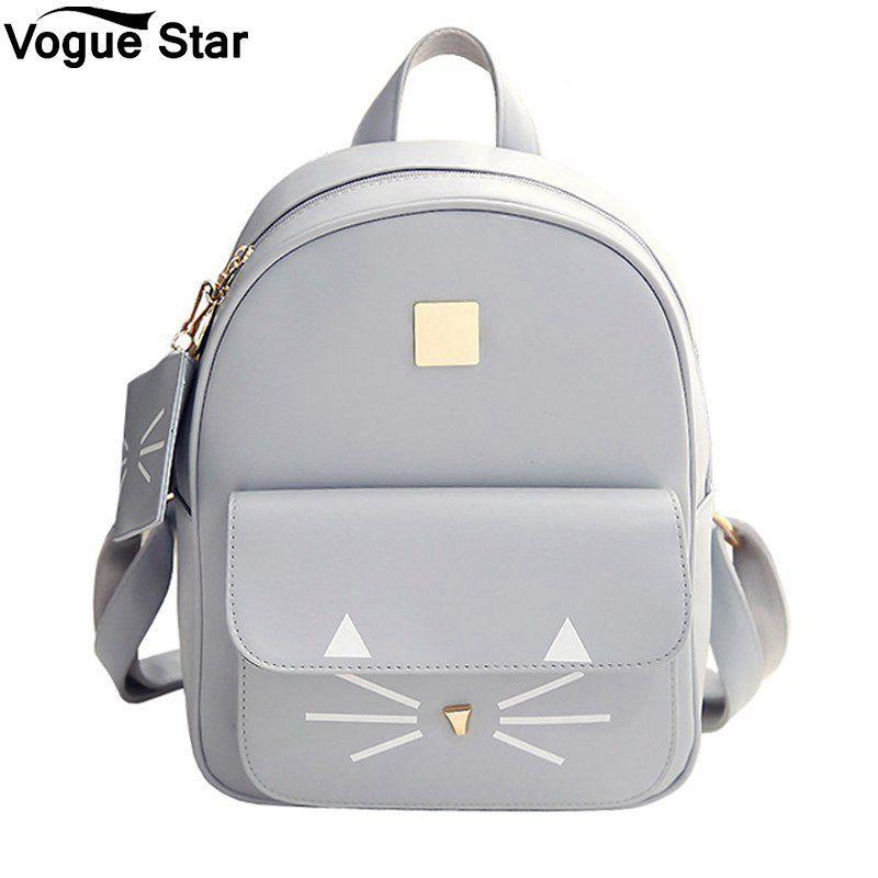 2019 Fashion Women School Bags For Teenage Girls Bags Children Backpack Bag  Hot Sale Cat Printing Backpack PU Leather Mini Backpacks M54 Backpacks Bags  From ... 2722abd52