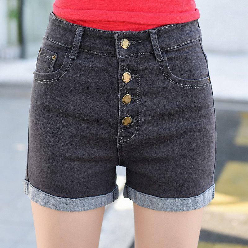 Compre 2018 Mujer 4 Botones Elásticos Pantalones Cortos De Cintura Alta Moda  Denim Corto Femenino Para Mujeres Sueltos Puños Straight Blue Jeans Más El  ... cc0bc70b0a2c