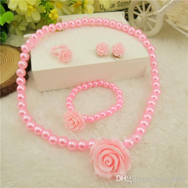Fashion jewelry imitation necklace bracelet ring ear clip set pearls kids girls child flower shape jewelry kids gift