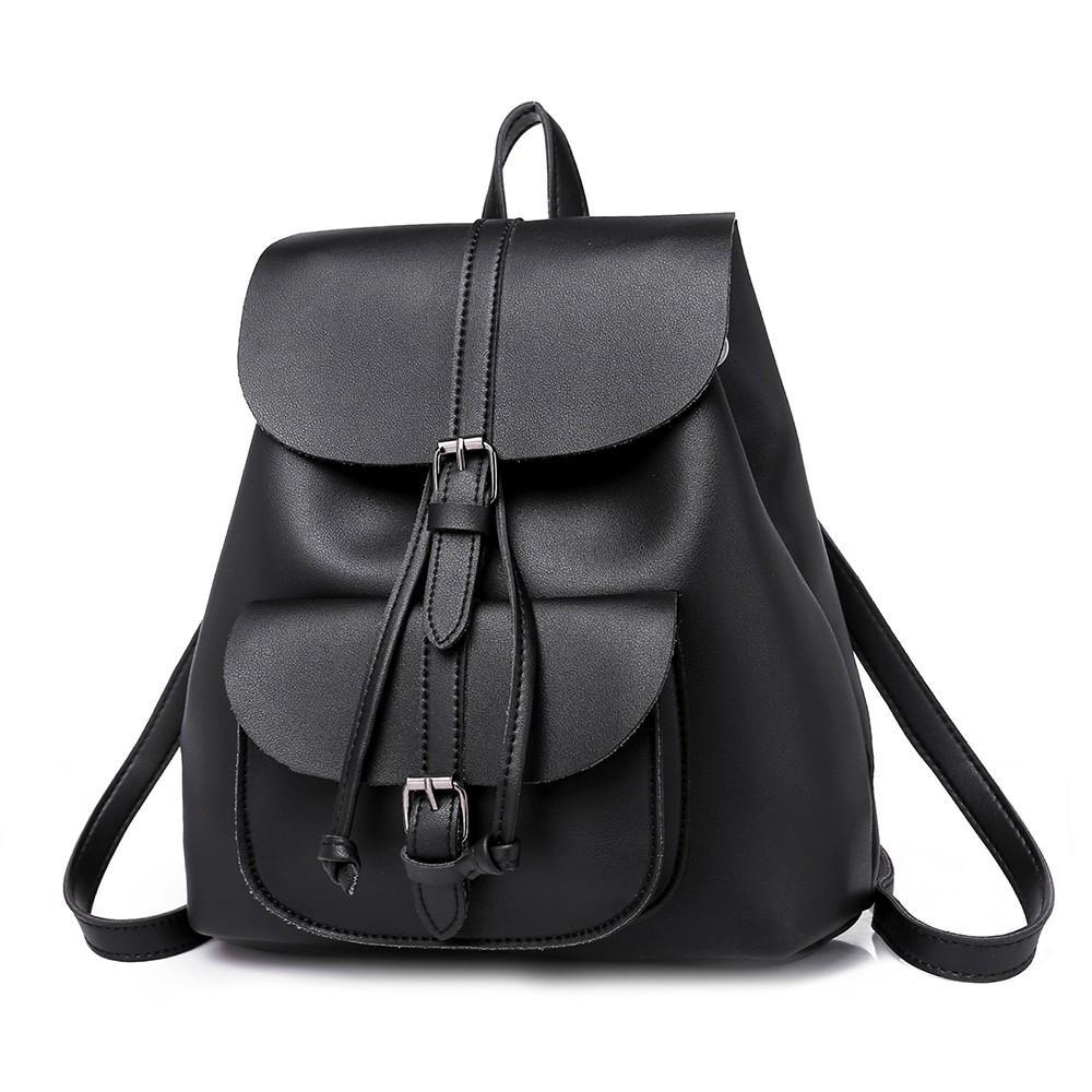PU Leather Women Backpack Student School Bag For Girl Large Travel Bag 2018  Fashion Solid Vintage Backpack Shoulder Tool Backpack Best Laptop Backpack  From ... 13f5808fa2bd3