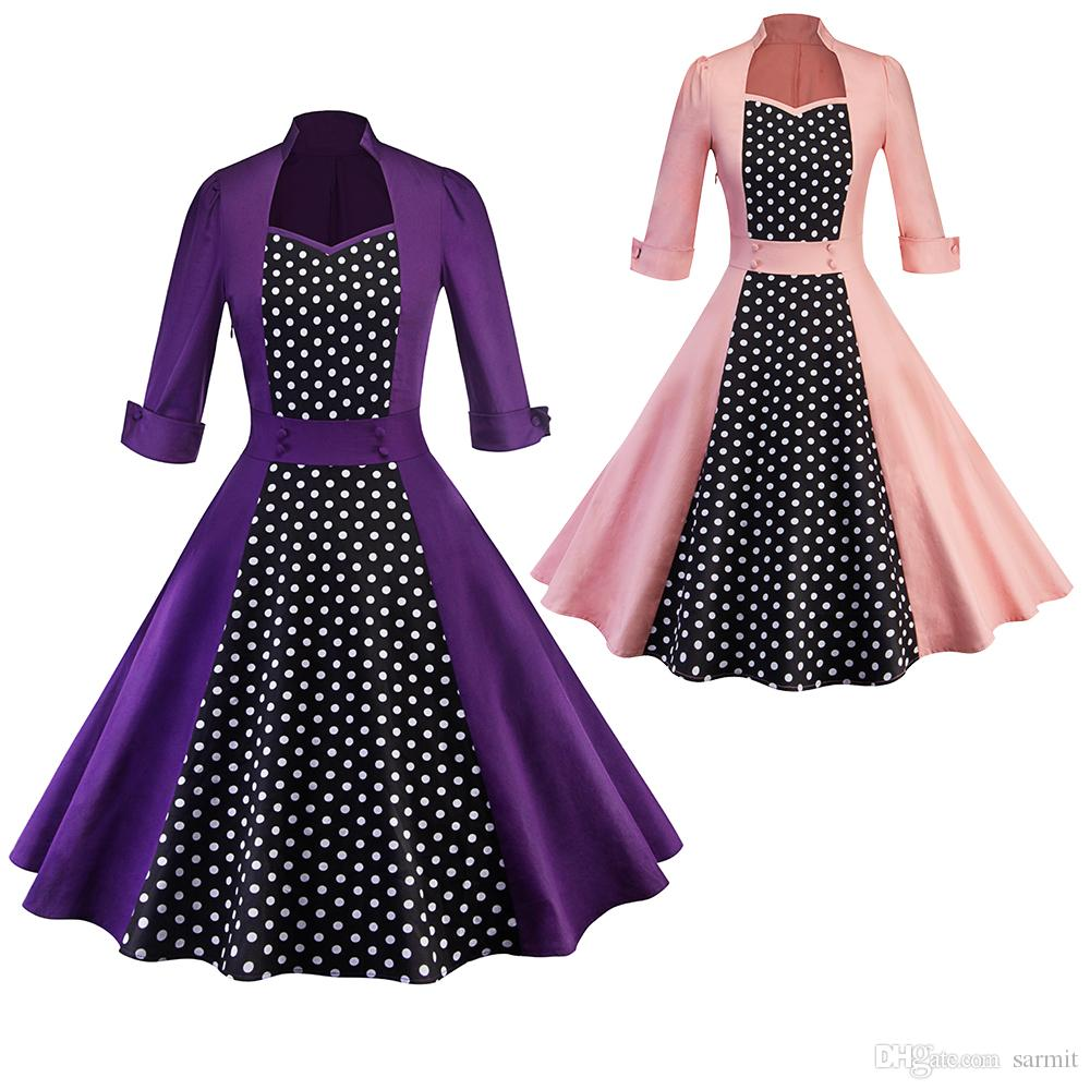 Vintage Hepburn Dresses For Womens CHEAP 60s Dress A Line Midi Shirt Dress  Fashion F0641 Pink Purple With Dots 3 4 Sleeve Canada 2019 From Sarmit 201f967bd