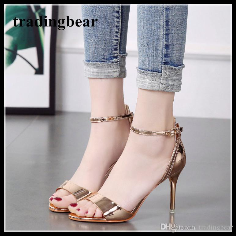 1d261715a06 2018 Concise Office Lady Shoes Gold High Heels Ankle Strap Prom Shoes 8cm  Summer Sandals Size 34 To 39 Saltwater Sandals Designer Shoes From  Tradingbear