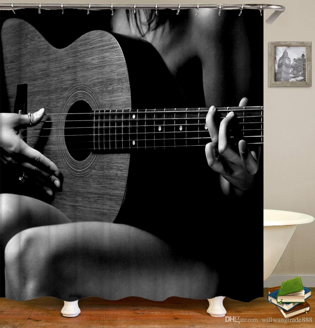 Customized Waterproof Flowers Electric Guitar Player Musical Note Skull  Head Shower Curtains Digital Printing Bathroom Curtains With Rings