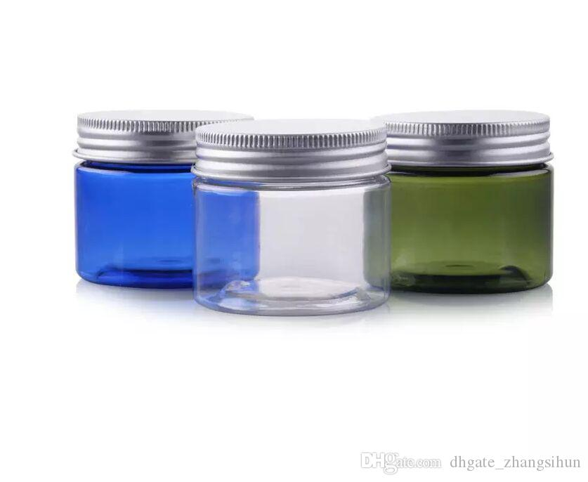 New Arrived 50g Transparent Small Plastic PET Jars With Aluminum Lid Blue  Color Empty Cosmetic Sample Jar With Lid gbn