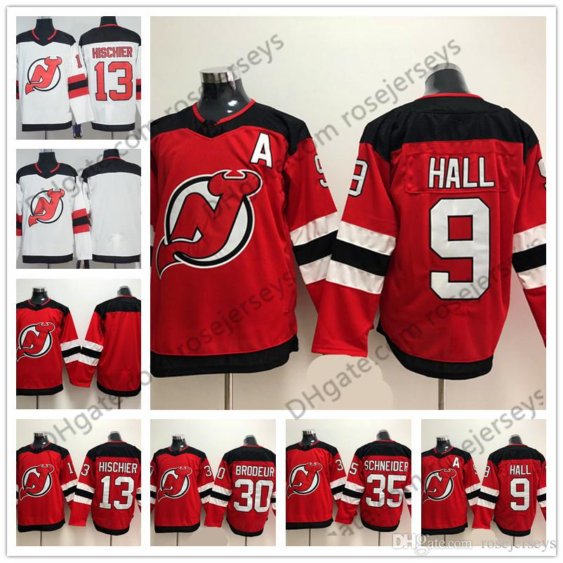188338e17 New Jersey Devils  13 Nico Hischier 9 Taylor Hall 30 Martin Brodeur 35  Schneider Blank Red White Mens Womens Youth Kids 2018 Hockey 13 Nico  Hischier Mens ...