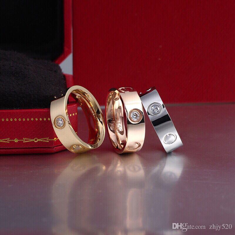 Marca de moda Acero titanium oro rosa amor anillo de plata anillo de amante destornillador joyería de boda regalo de cumpleaños para mujeres hombres anillos